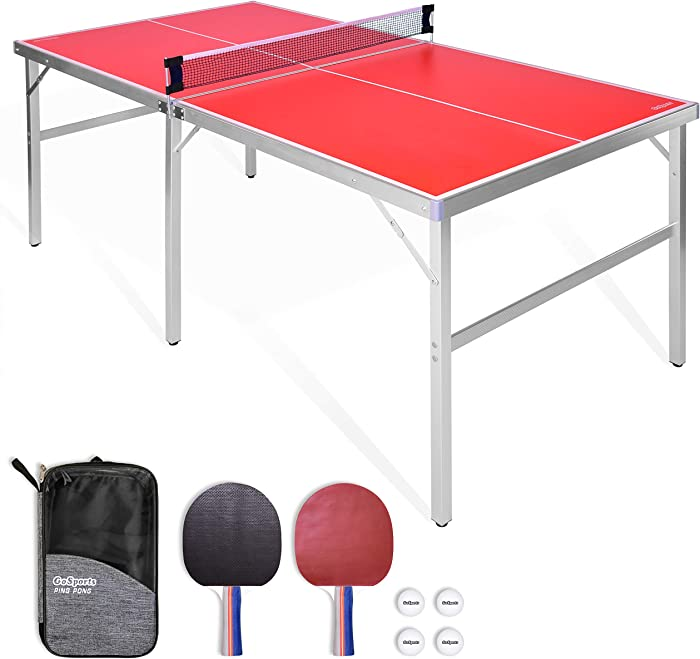 GoSports 6'x3' Mid-size Table Tennis Game Set | Indoor / Outdoor Portable Table Tennis Game with Net, 2 Table Tennis Paddles and 4 Balls
