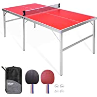 GoSports 6'x3' Mid-Size Ping Pong Table Game Set | Indoor/Outdoor Portable Ping Pong Table with Net, 2 Table Tennis Paddles and 4 Ping Pong Balls