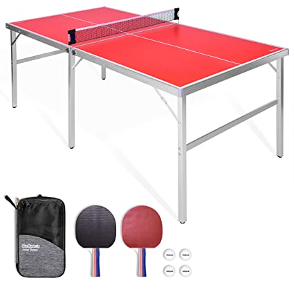 Gosports 6 X3 Mid Size Ping Pong Table Game Set Indoor Outdoor Portable Ping Pong Table With Net 2 Table Tennis Paddles And 4 Ping Pong Balls