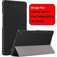 Taslar Leather Convenient Stand Function with Magnetic Lock Flip Cover Case for Lenovo Tab4 8 Plus Tablet 8 inch TB-8704X,(Black)