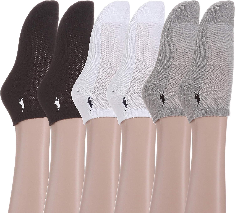 US Womens size 4-10.5 LAUREN Ralph Lauren Cushion Sole Mesh Top Low Cut 6 Pack Assorted Grey//White//Black 9-11