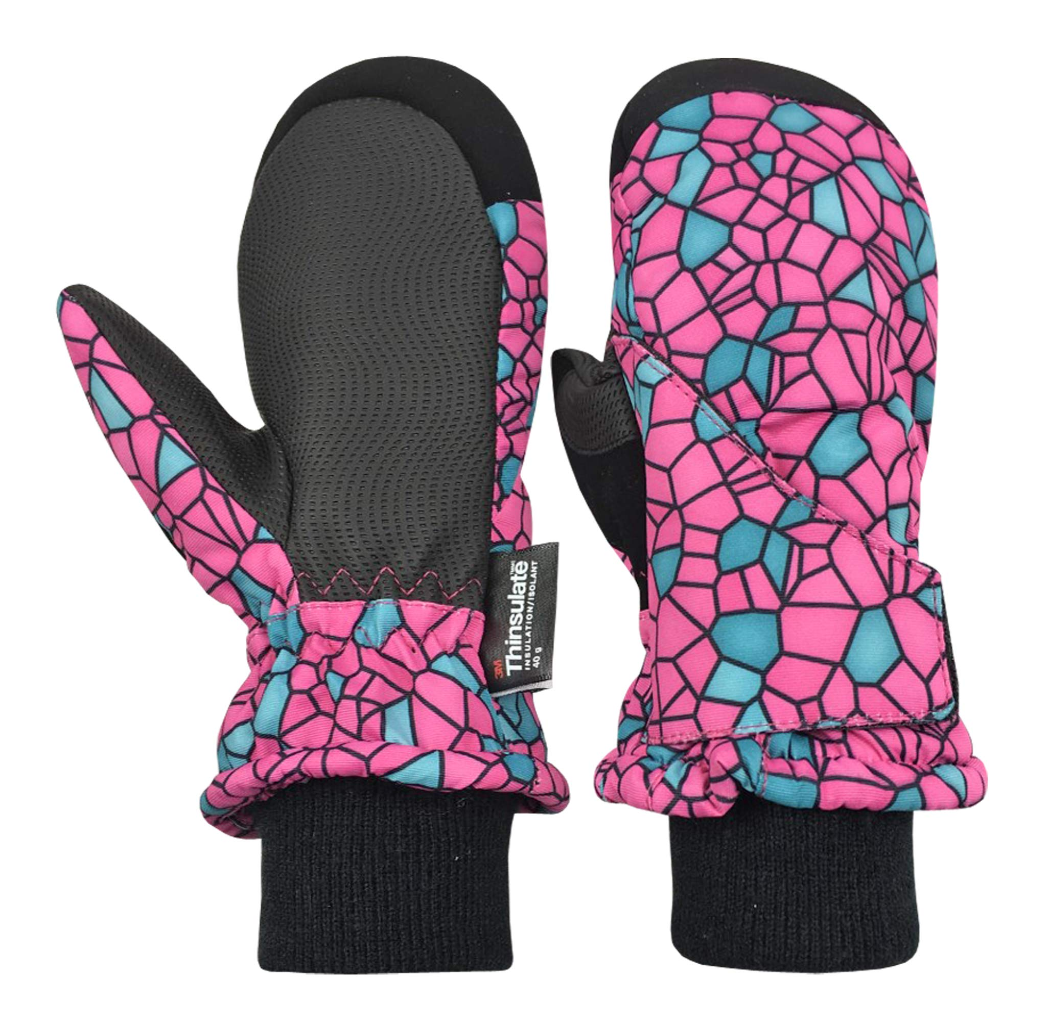 N'Ice Caps Kids and Baby Easy-On Wrap Waterproof Thinsulate Winter Snow Mitten (Fuchsia/Black Shattered Glass, 6-8 Years) by N'Ice Caps
