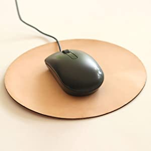 Mouse Pad Leather - Desk Accessories for Home   Thick Natural Leather Mouse Pads for Computers / Laptop   Round Mouse Pad Mat Gift for Coworker / Friend   Office Gift Work from Home Gift Men - 8 Inch