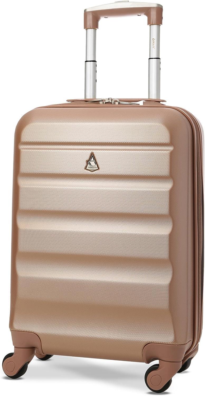 Aerolite - Maleta Ligera de 55 cm con Carcasa rígida de 4 Ruedas para Llevar en la Cabina de Mano o Equipaje de Mano Aprobado para easyJet British Airways Ryanair, Oro Rosa