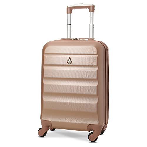 Aerolite Super Lightweight ABS Hard Shell Travel Carry On Cabin Hand Luggage Suitcase with 4 Wheels, Approved for Ryanair, easyJet, British Airways, Virgin Atlantic and Many More (Rose Gold)