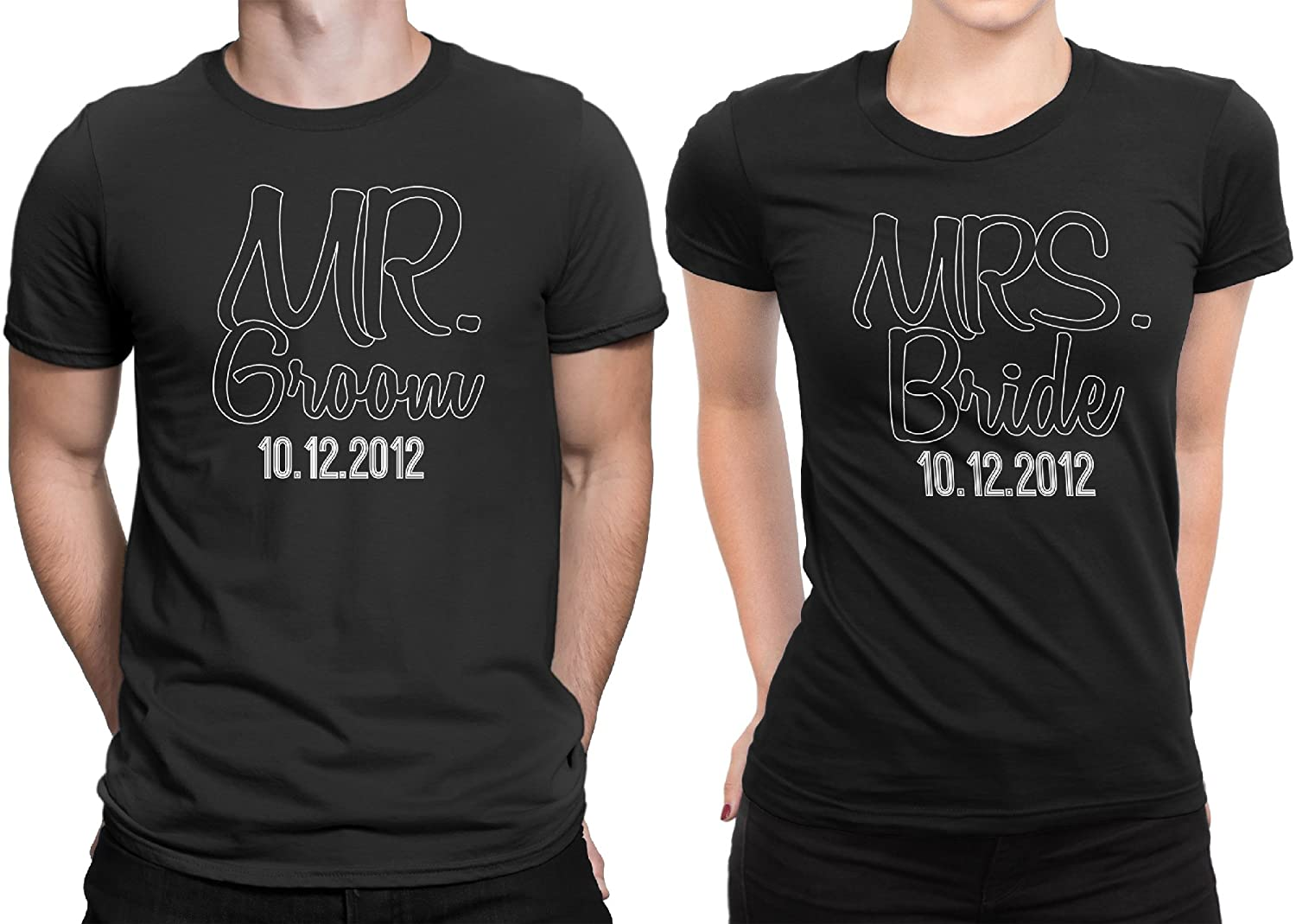 af710890d9ea Mr Groom Mrs Bride Newly Married Couple Matching T-Shirt Honeymoon  Valentines