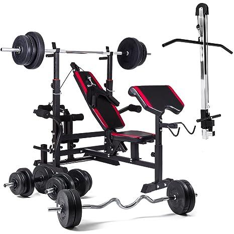 Banco de pesas Hop-Sport, banco de musculación 1075 con sistema de tracción del peso, con mancuernas largas, cortas y curl curvadas para pesos entre 50 kg y ...