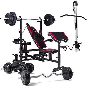 Banco de pesas Hop-Sport, banco de musculación 1075con sistema