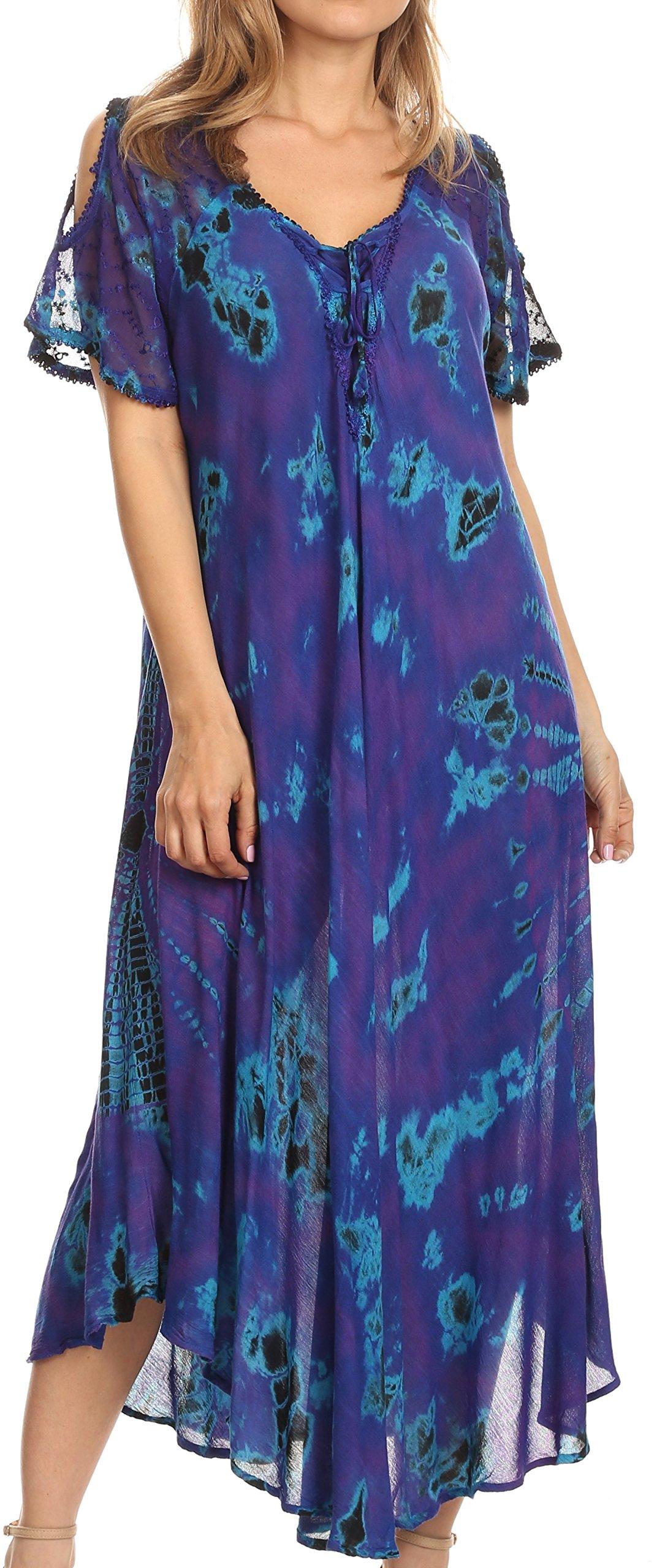 Sakkas 18682 - Ada Women Cold Shoulder Caftan Relax Long Maxi Dress on Tie-dye with Corset - Purple - OS