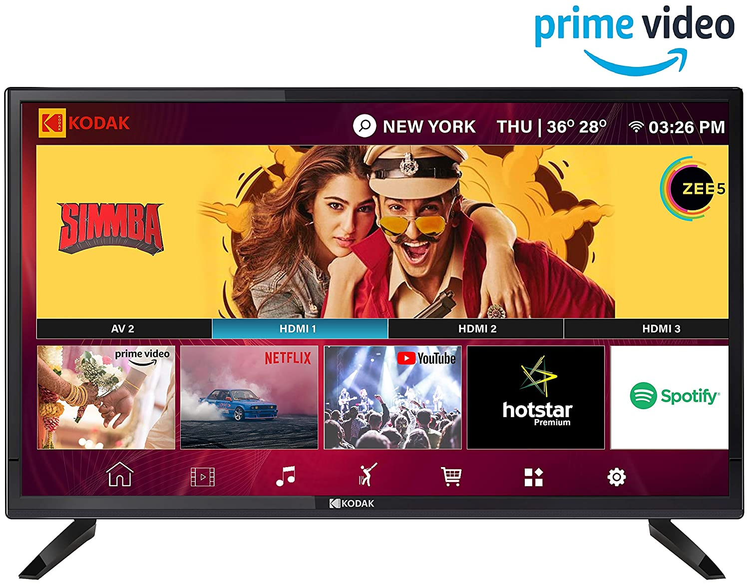 Kodak 80 cm (32 inches) HD Ready LED Android TV 32HDXSMART Pro (Black) (2019 Model)