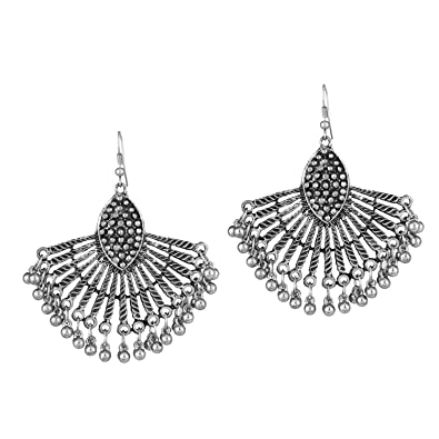 654abd9414 Cardinal Women's Peacock Style Afghani Silver Hook Earring: Amazon ...