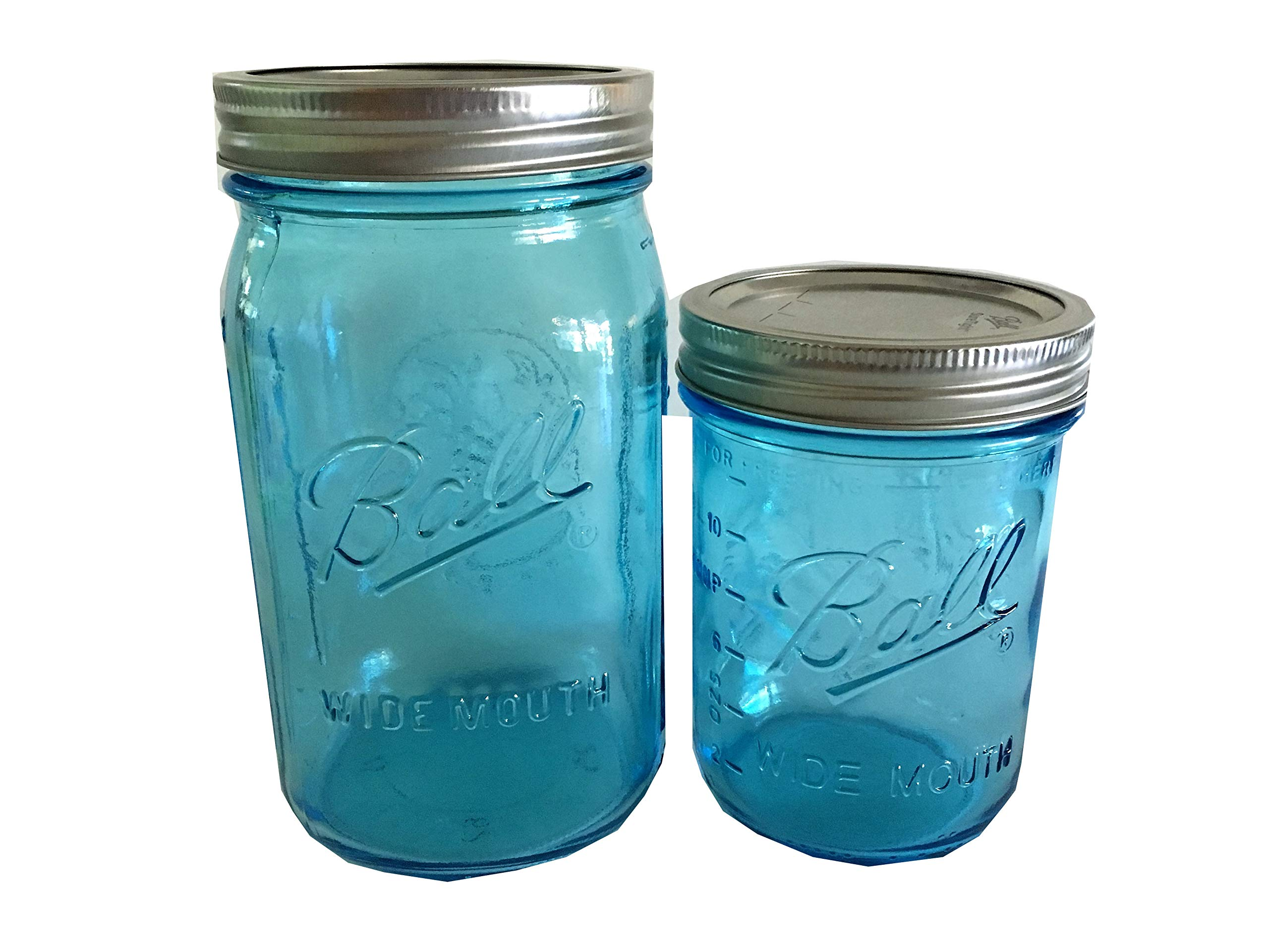 Ball Mason Jars-Wide Mouth-One 32 oz. Aqua Blue, One 16 oz. Aqua Blue-Set of 2