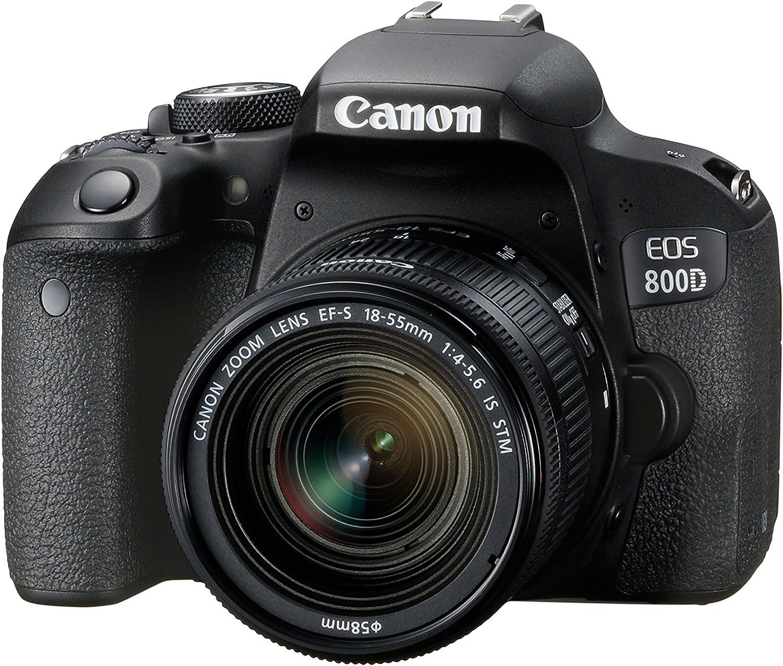 Canon EOS 800D - Cámara RÉFLEX de 24.2 MP (Pantalla táctil de 3.0'', NFC, Dual Pixel CMOS AF, Bluetooth,45 Puntos AF, 6 fps, Full HD, WiFi) Negro - Kit Cuerpo con Objetivo EF-S 18-55IS STM