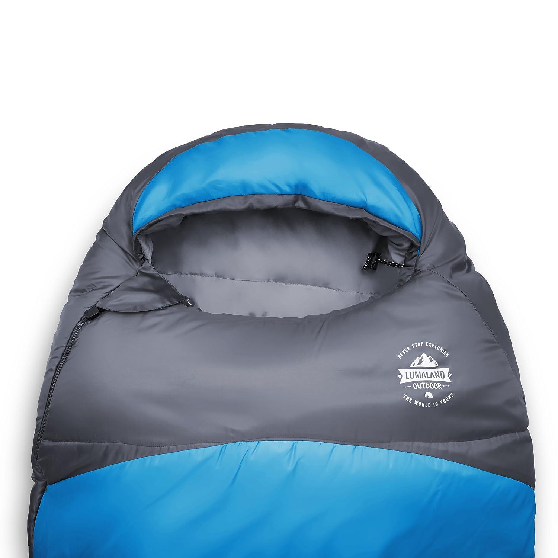 Lumaland Outdoor saco de dormir, ca. 230 x 80 cm, bolsa de transporte incluida, ca. 50 x 25 cm, azul: Amazon.es: Deportes y aire libre