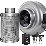 "iPower GLFANXINL8FILT8MCTR Inline Fan Carbon Filter Kit Grow Tent Ventilation, 8"", Grey"