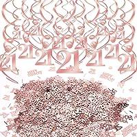 Konsait 21th Birthday Decor Rose Gold Hanging Swirls Decoration Star 21 Happy Birthday Table Confetti for Girls Birthday Party Favor Supplies Decoration Home Table Decor