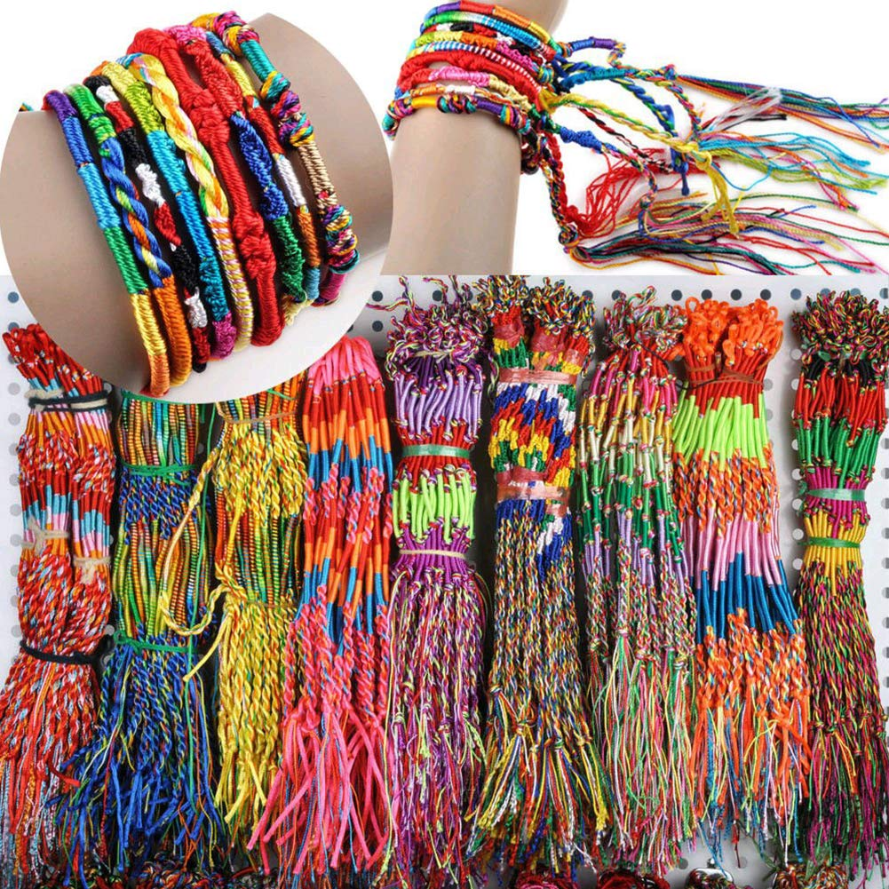 Friendship Bracelet, 50pcs Colorful Braid Friendship Cords Wrist Bracelet Random Color Gift for Girls Christmas Gift