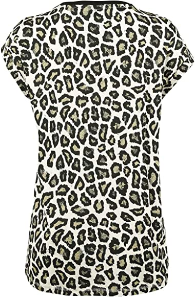 Rock Rebel by EMP Ladies Extended Shoulder Mujer Camiseta Leopardo, Regular: Amazon.es: Ropa y accesorios