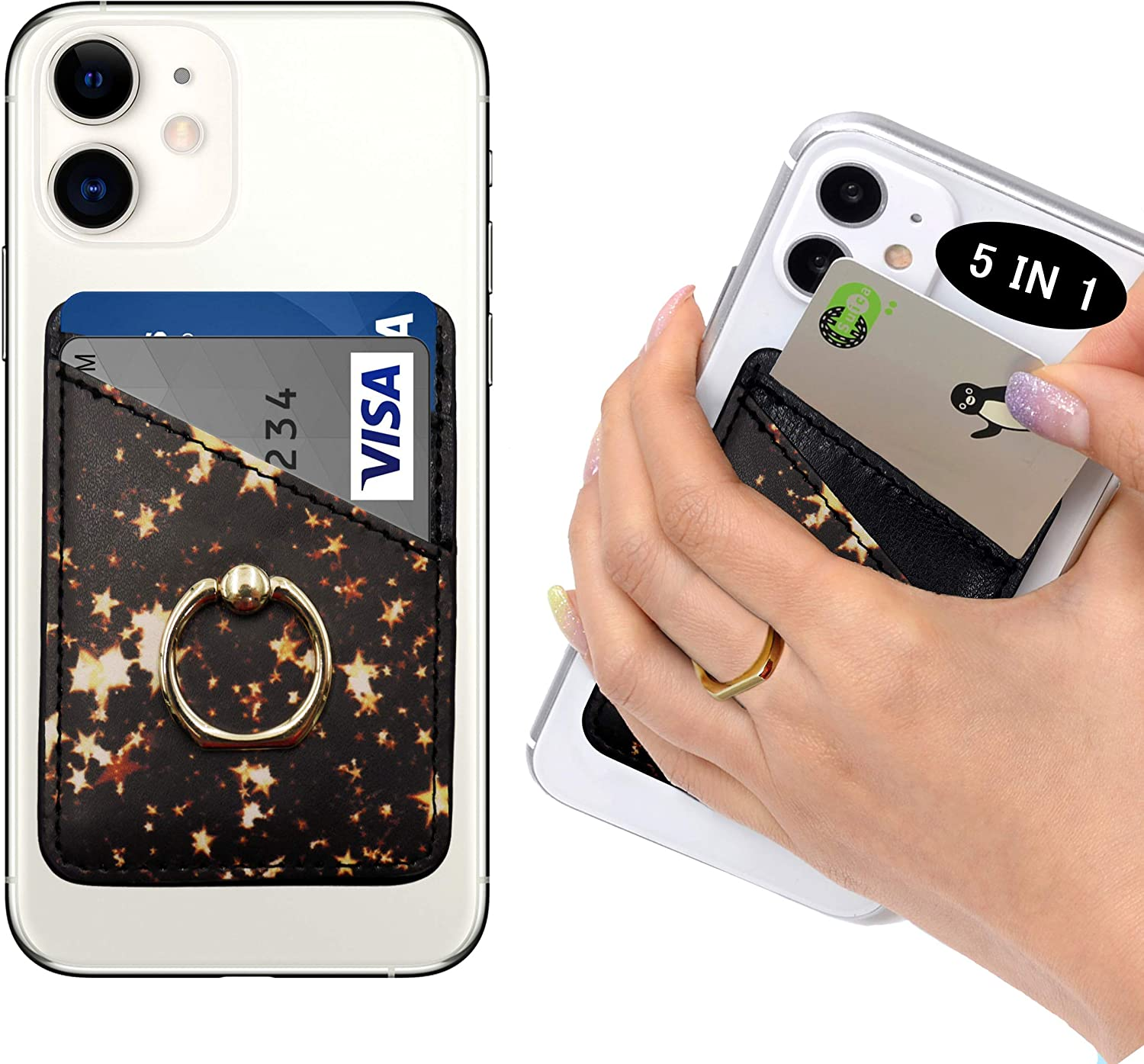 POLIFALL Leather Phone Card Holder (StarGlow 2) 5 in 1 Stick On Wallet Sleeve Back - Double Pocket + Finger Ring Stand + Metal Plate for Magnet Mount + RFID Block for iPhone, Galaxy, Android, Mobile