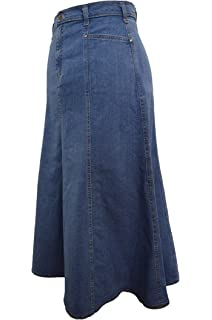 67bb14bb7d11a Ladies Long Flared Stonewash Stretch Denim Skirt - Sizes 10 to 22, 30