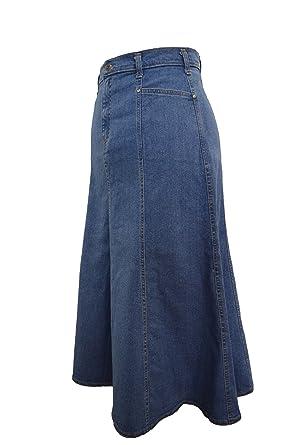 5ba5d0aefb0 Ice Cool Ladies Plus Size Long Flared Stonewash Stretch Denim Maxi Skirt  Sizes 14 to 26