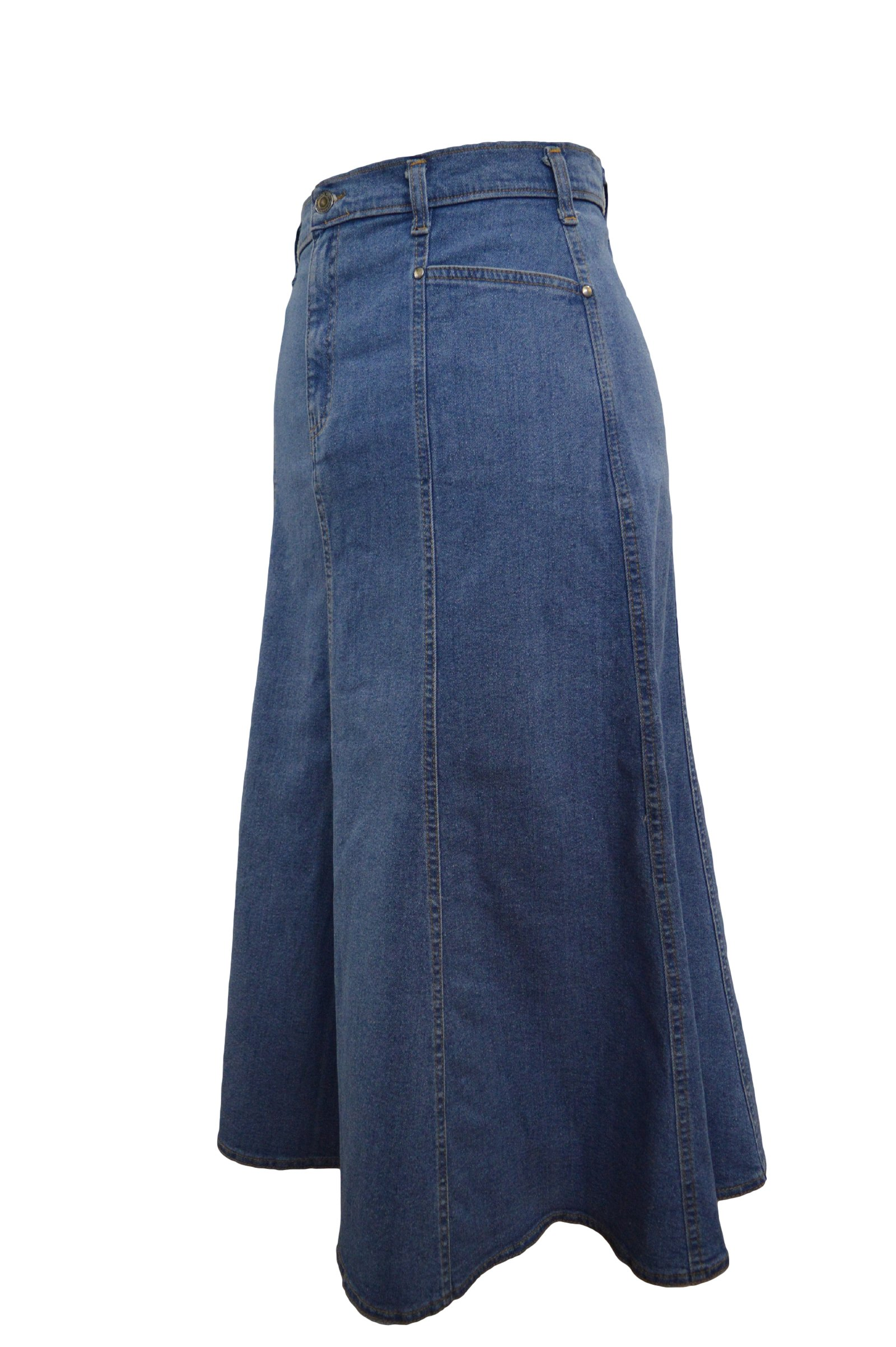 Ice Cool Ladies Plus Size Flared Stonewash Denim Maxi Skirt - Sizes 18-35 Length