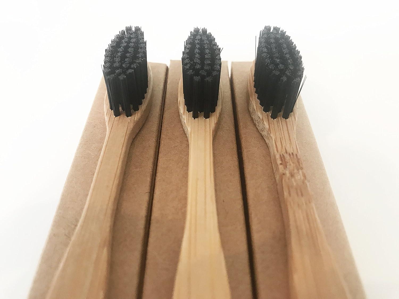Carbón vegetal con bambú natural cepillo de dientes (1) | Biodegradable mango cepillo de bambú con tratamiento térmico | suave/medio cepillo de cerdas | en ...