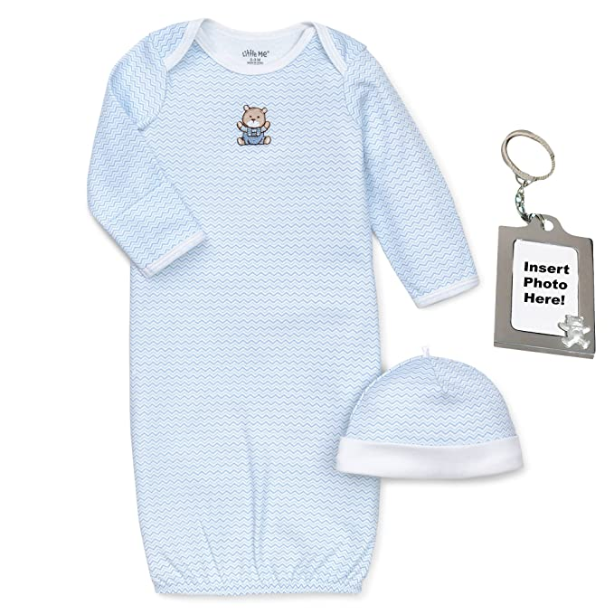 6773f9a0ef80 Amazon.com  Little Me Chevron Blue and White Zig Zag Bear Gown Hat ...