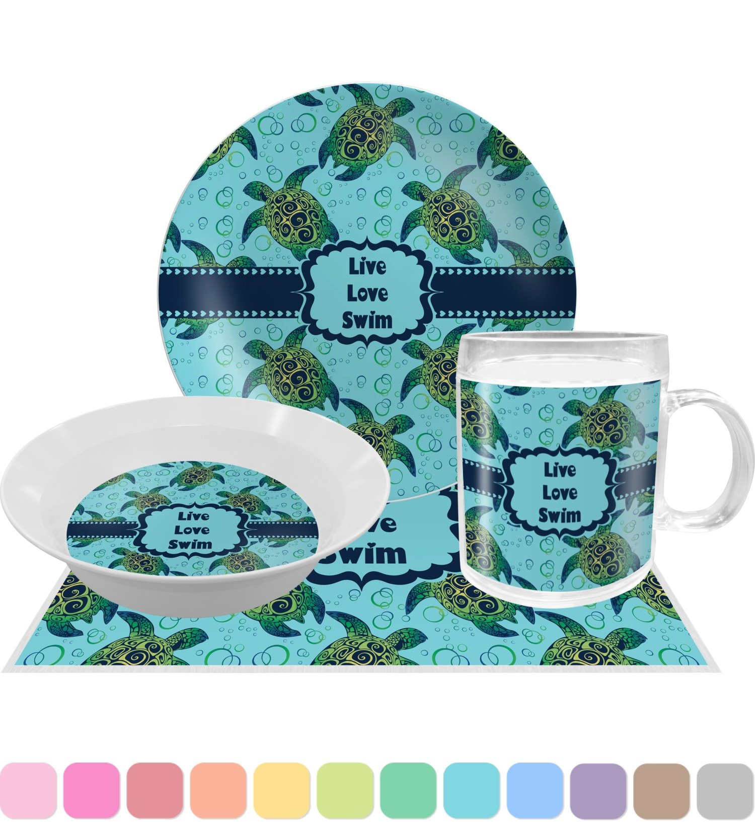 Sea Turtles Dinner Set - 4 Pc (Personalized)