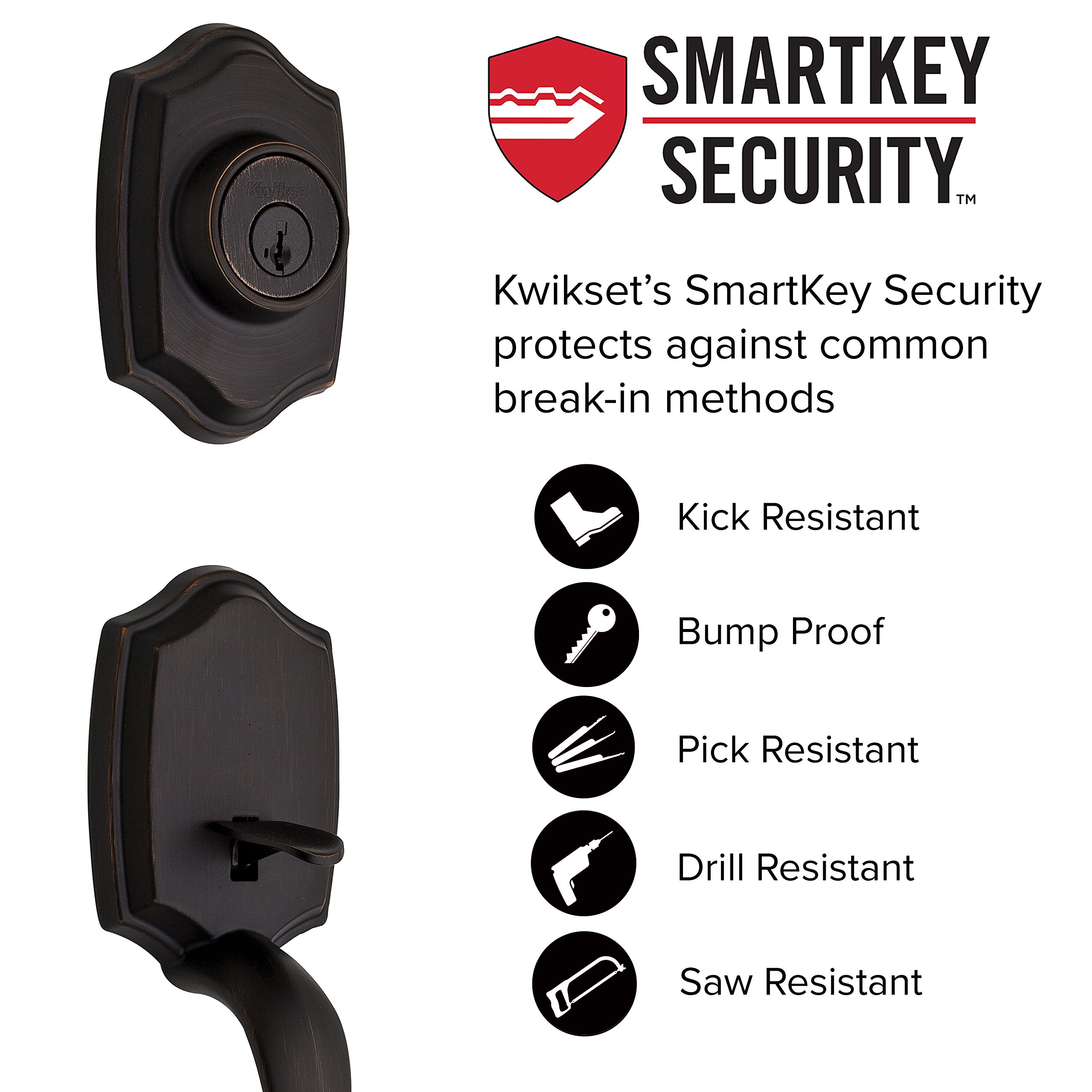 Kwikset 96870-100 Belleview Single Cylinder Handleset with Cove Knob featuring SmartKey Security in Venetian Bronze