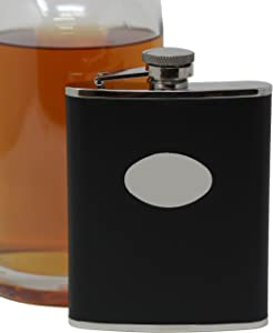 6 oz Black Smooth Leather Discrete Pocket Hip Alcohol Liquor Flask - Made from 304 (18/8) Food Grade Stainless Steel