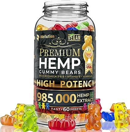 Amazon.com: Wellution Hemp Gummies 985,000 High Potency - Fruity Gummy Bear  with Hemp Oil, Natural Hemp Candy Supplements for Soreness, Stress &  Inflammation Relief, Promotes Sleep & Calm Mood: Health & Personal