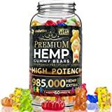 Wellution Hemp Gummies 985,000 High Potency - Fruity Gummy Bear with Hemp Oil, Natural Hemp Candy Supplements for Soreness, S
