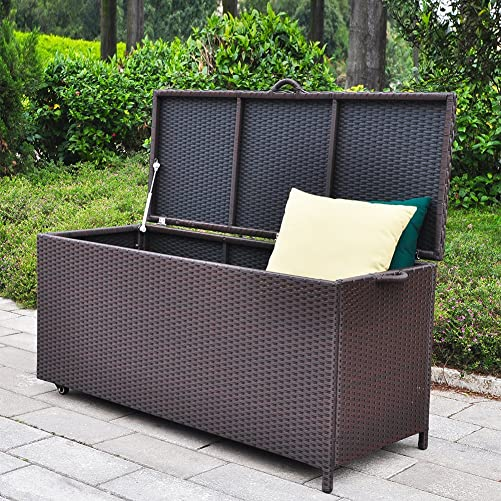BABYLON Outdoor Patio Wicker Storage Container Deck Box Made of Antirust Aluminum Frames and Resin Rattan, 86-Gallon Brown Large, Brown