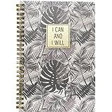 Caderno A5 Espiral com Capa Pp Coleção Time Lapse - I Can and I Will - Floral Cinza Miolo. 160 Páginas, 80G/M², Pautado, Bran