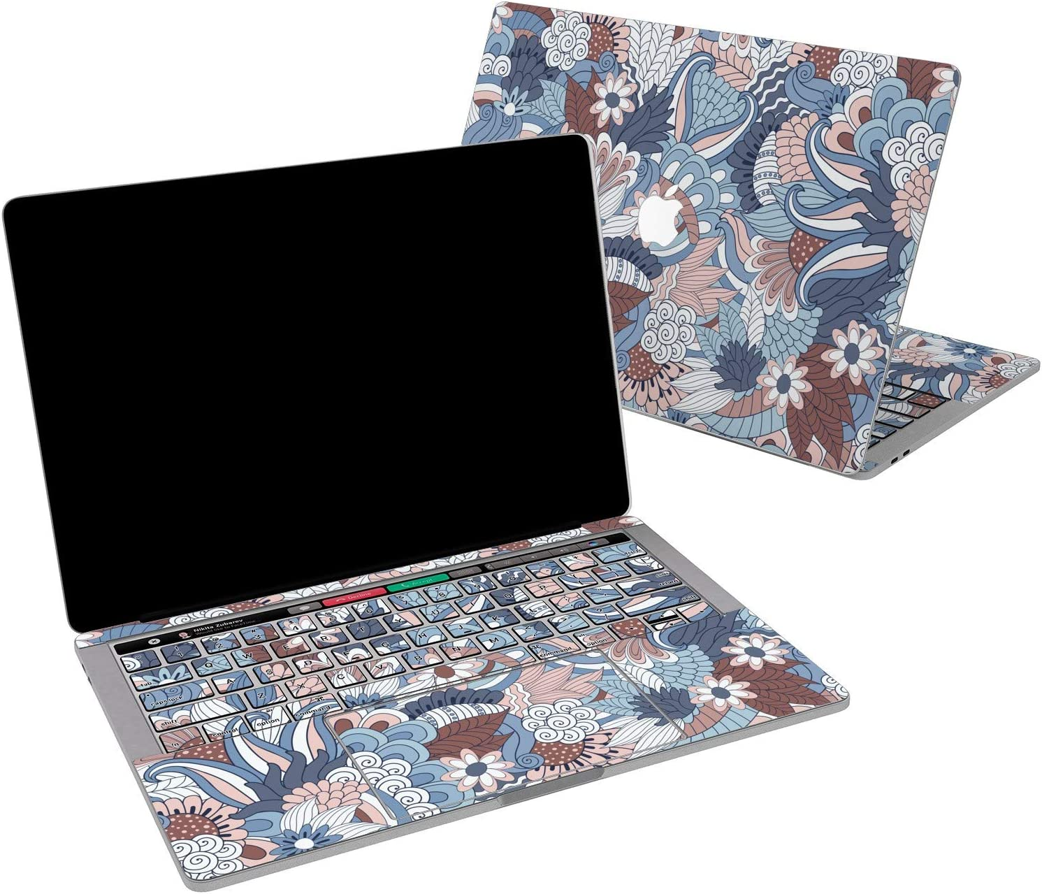 Lex Altern Vinyl Skin for MacBook Air 13 inch Mac Pro 16 15 Retina 12 11 2020 2019 2018 2017 Chinese Art Pattern Flowers Floral Blue Vintage Laptop Wrap Cover Keyboard Decal Sticker Touch Bar Girls