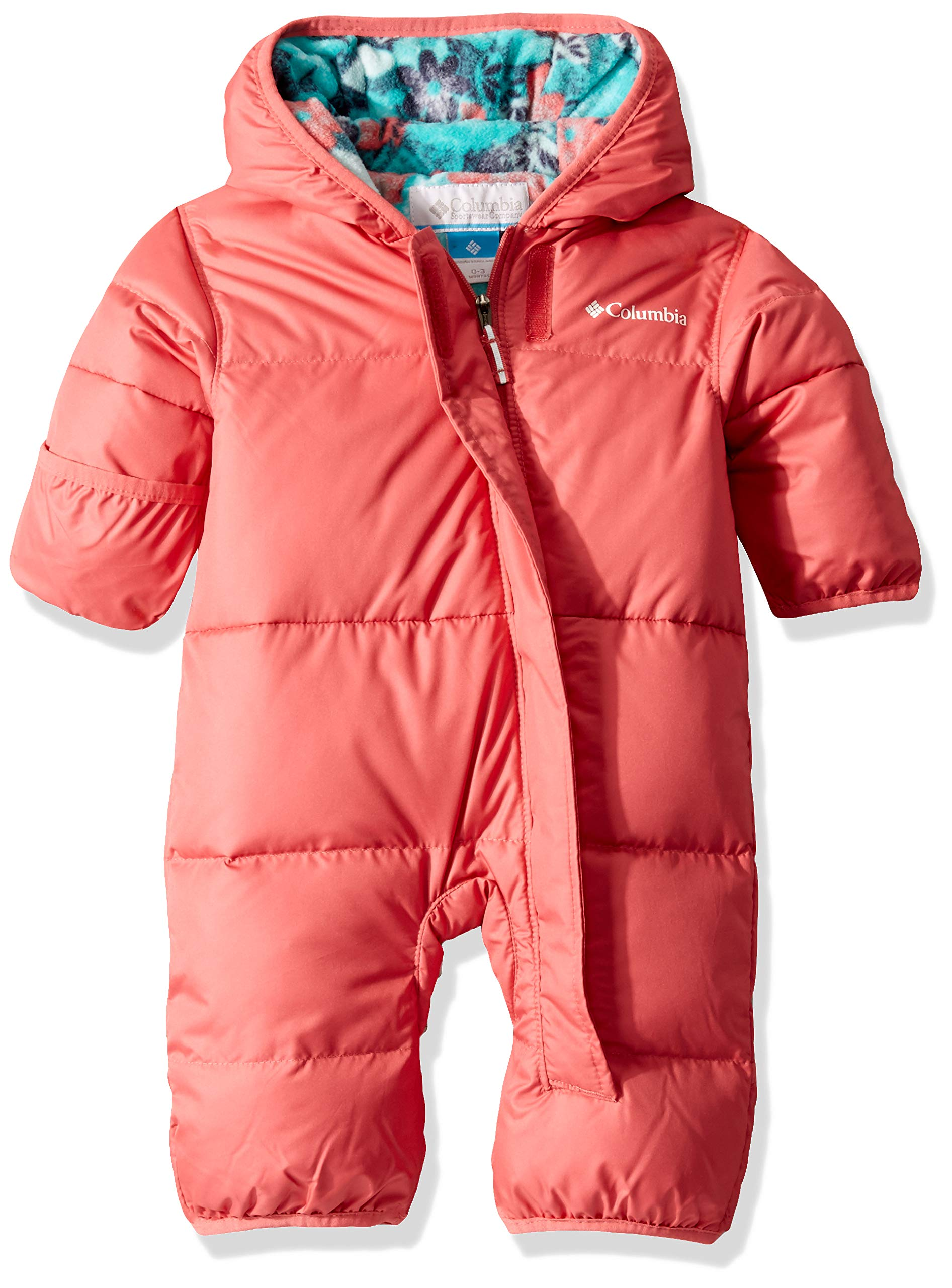 Columbia Kids' Snuggly Bunny Insulated Water-Resistant Bunting, Wild Salmon/Geyser Floral, 6/12 by Columbia
