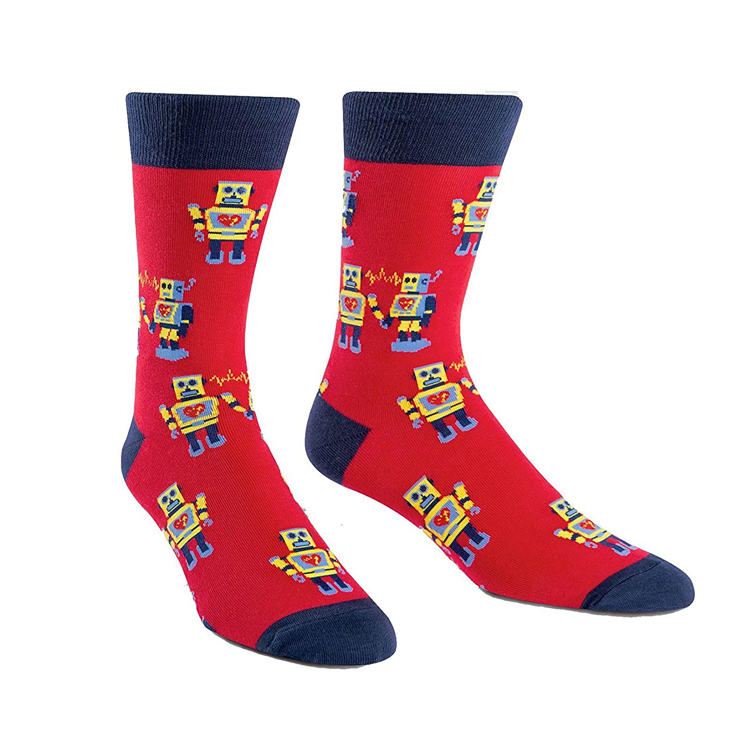 Sock It To Me Men's Robot Love Red Crew Socks Droid Adult Shoe Size 7-13 MEF0176