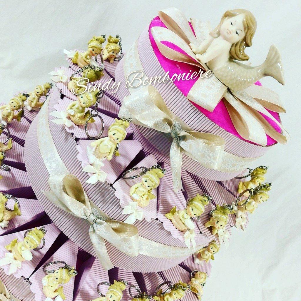 Tarta BOMBONIERA para nacimiento bautizo 1 ° Cumpleaños Niña Sirenita llavero Confetti + Tarjeta