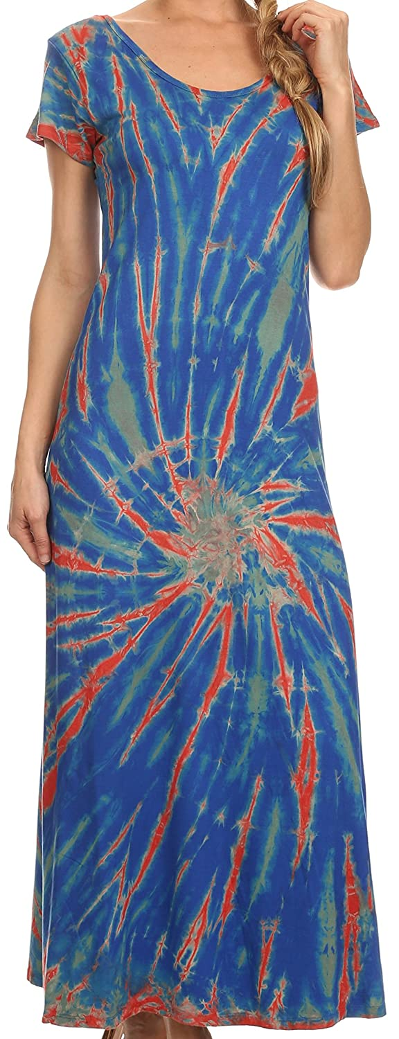 Sakkas Diana Long Tie Dye Scoop Neck Cap Sleeves Dress 5055861848426
