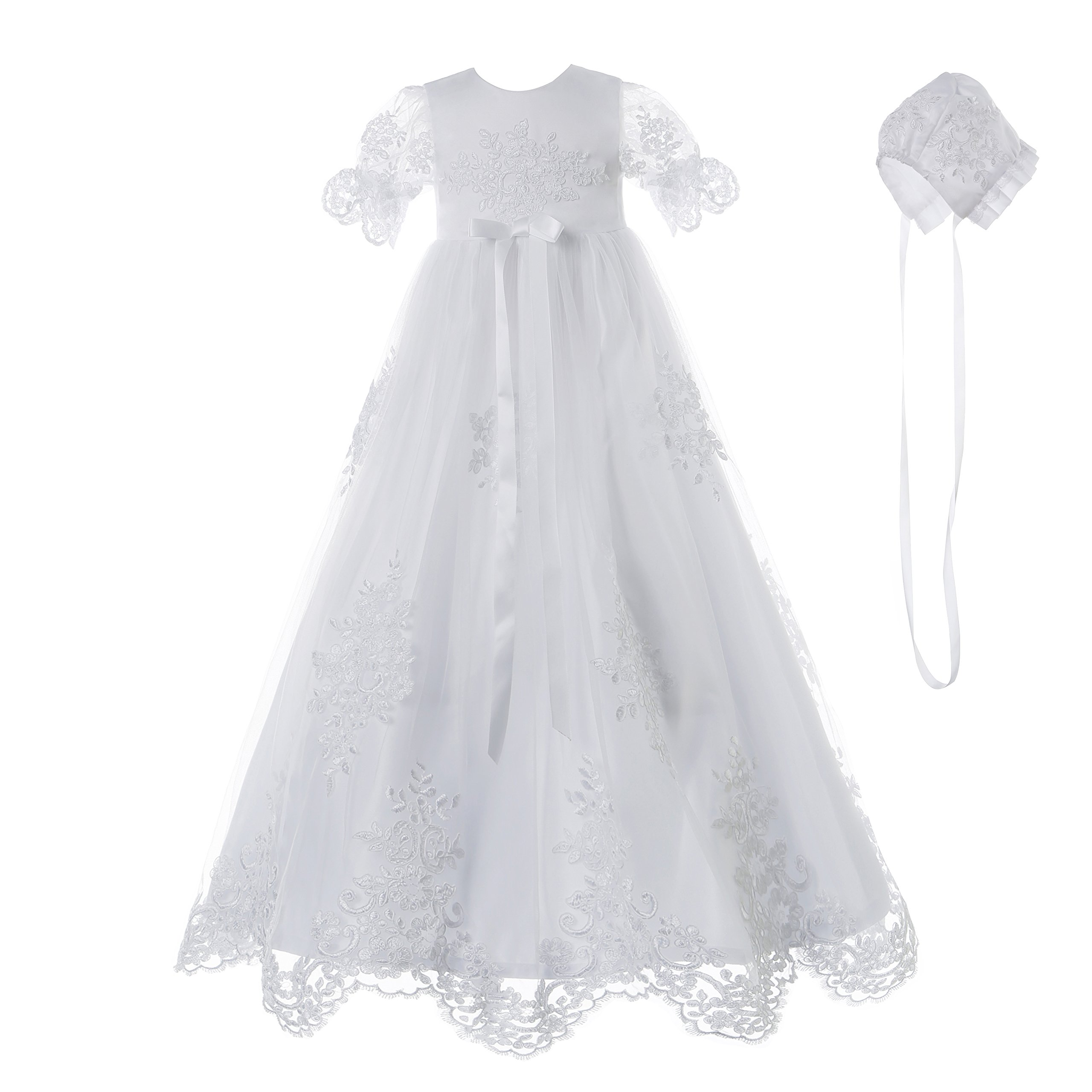 NIMBLE Baby Girls Baptism Delicate Embroideried Gown with Bonnet for 0-12 Months