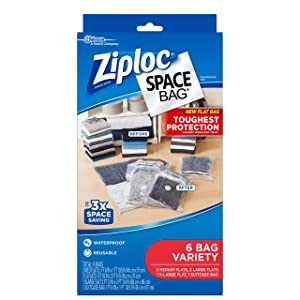 Ziploc Space Bag, Variety Pack, 6 Count (Flat Bag: 2 Medium, 2 Large,1 XL; 1 Suitcase Bag)