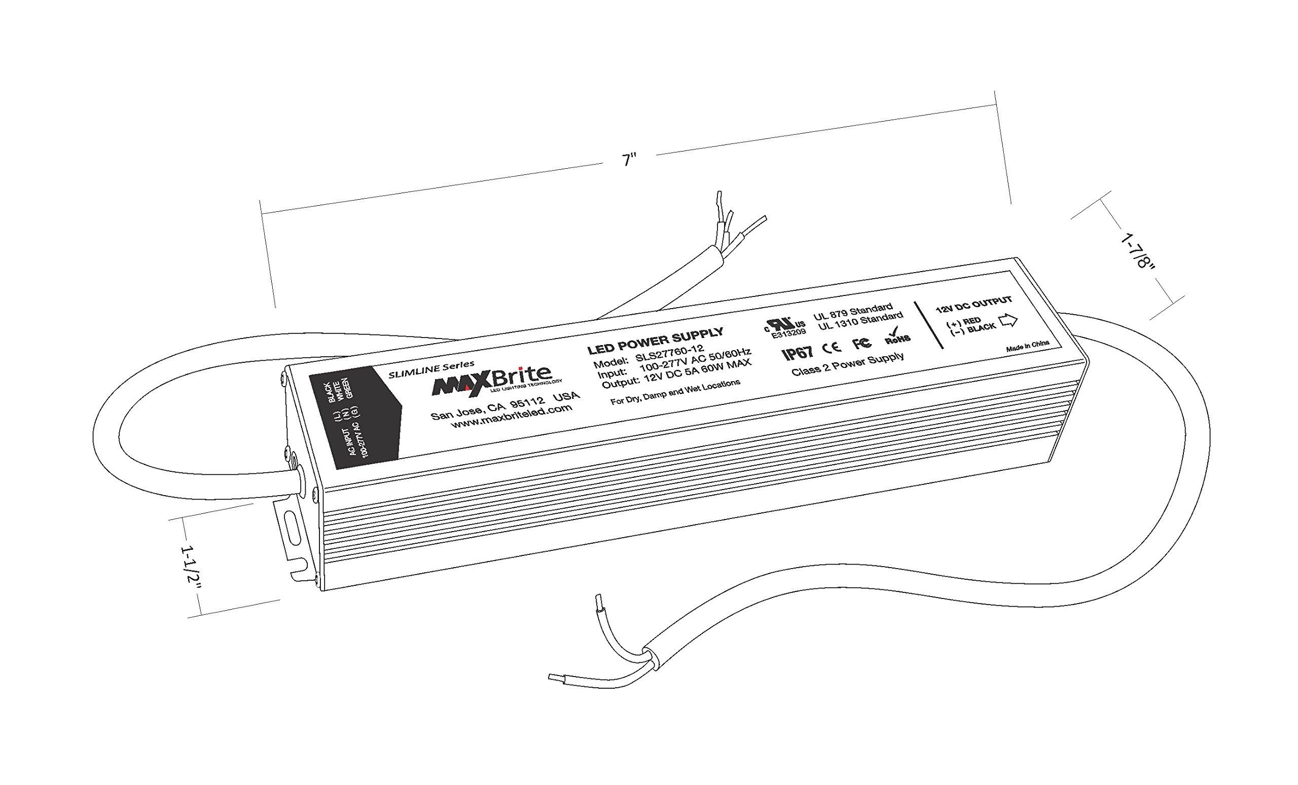 60w led power supply  12v dc output  100 cul 710308401873