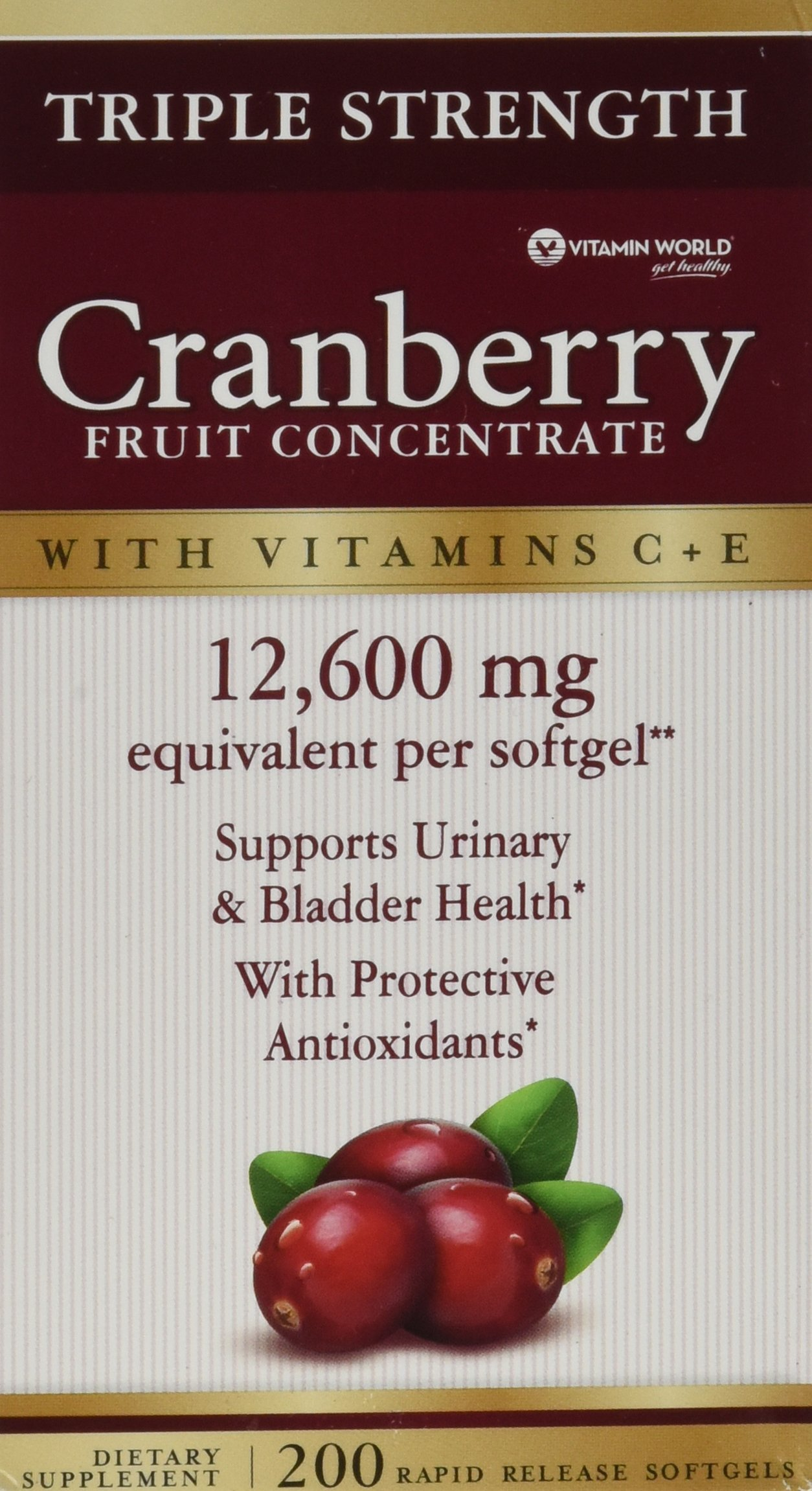 Vitamin World Triple Strength Natural Cranberry Fruit Concentrate 12,600 Mg, 200 Softgels