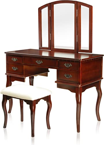 Furniture of America Matilda Stool Set Vanity, Cherry