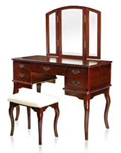 Furniture of America IDF-DK6405CH Matilda Stool Set Vanity, Cherry