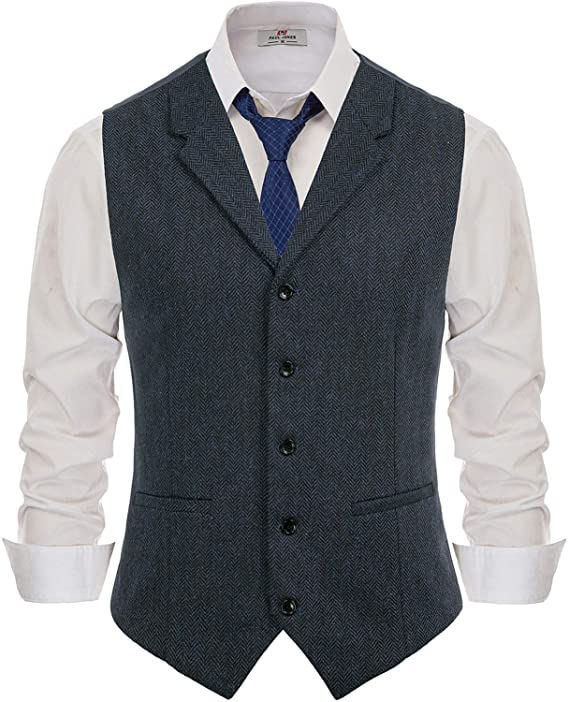 1920s Men's Clothing PJ PAUL JONES Mens Slim Fit Herringbone Tweed Suits Vest Wool Blend Waistcoat  AT vintagedancer.com