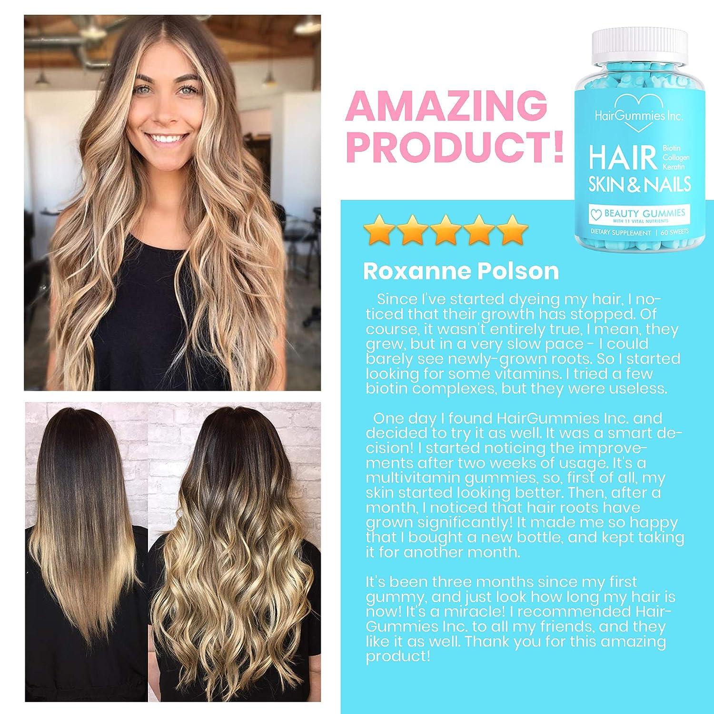 Hair Growth Gummy Vitamins With Biotin Collagen Keratin Hair Skin And Nail Vitamins Made In Usa Powerful Nail Skin Hair Supplement Hair