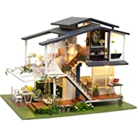 CUTEBEE Dollhouse Miniature with Furniture, DIY Wooden Dollhouse Kit Plus Dust Proof and Music Movement, 1:24 Scale…