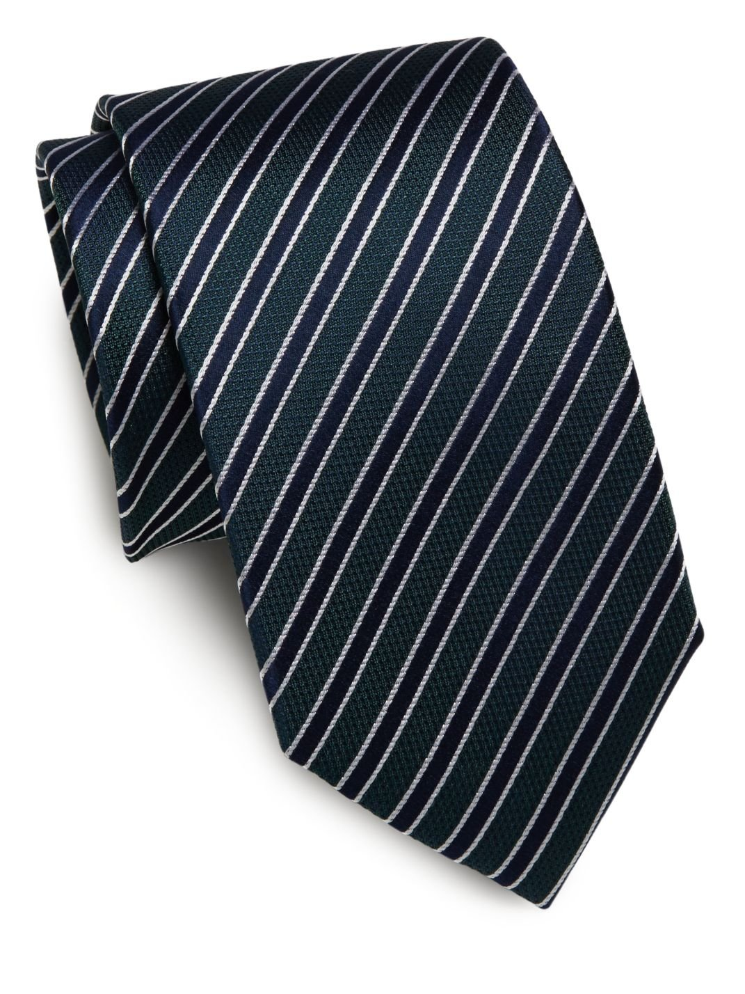Yves St. Laurent Woven Silk Stripe Tie, OS, Green